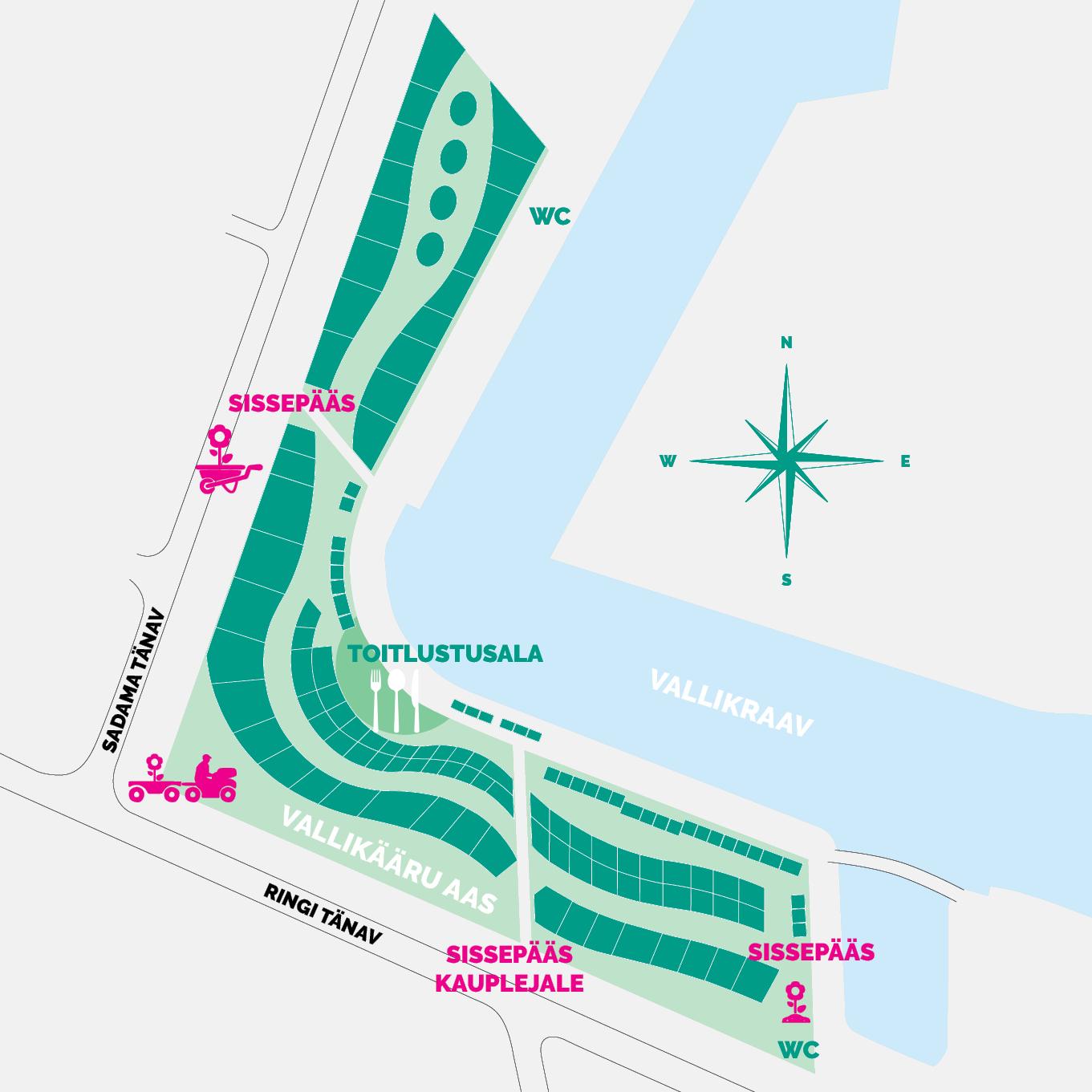 Pärnu Taimelaat Vallikääru aasal, kaart
